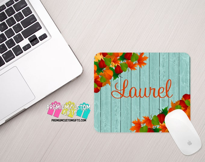 Wooden Background Mouse Pad - Floral Mouse Pad - Personalized Mouse Pad - Custom Mouse Pad - Office Gift - Computer Desk - Personalized Gift