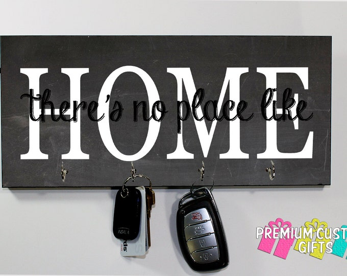 There's No Place Like Home Key Holder On MDF - Chalkboard Look Background Wall Key Rack With Glossy Finish - Wooden Key Hanger Design #KH179