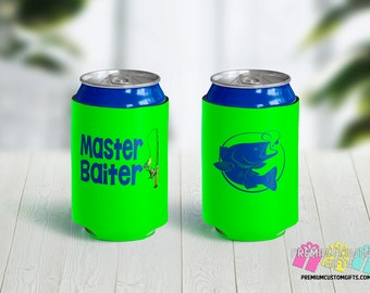Master Baiter Can Coolies - Personalized Can Coolies - Custom Beer Can Coolers - Fishing Can Coolers - Funny Can Coolers - Gifts For Him