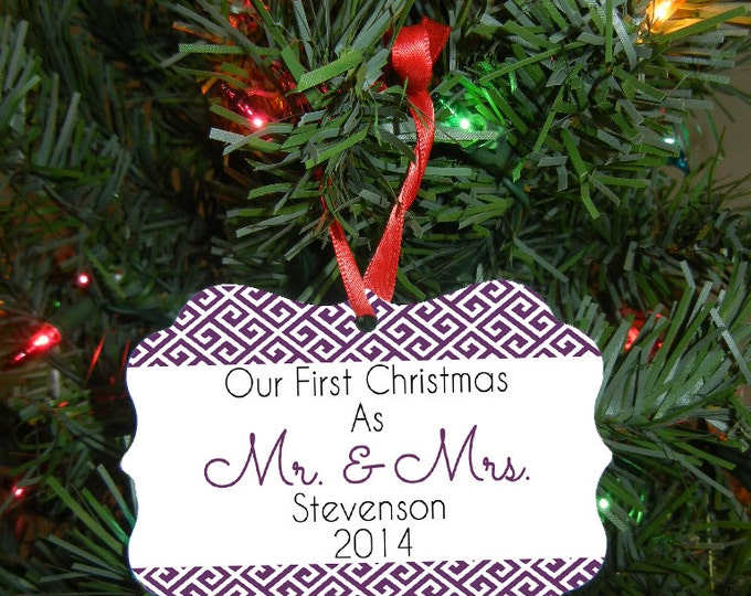 Mr. and Mrs. Christmas Ornament - Double Sided - Our First Christmas Ornament - Wedding Gift - Christmas Gift Design #OR104