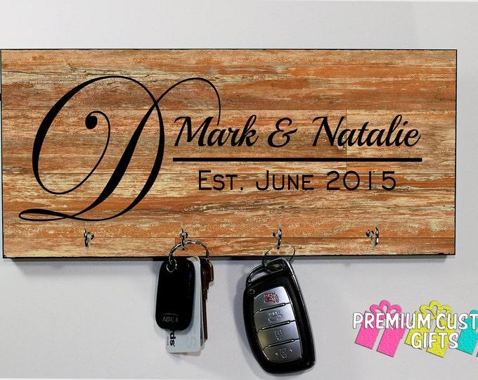 Personalized Wall Key hanger -Wedding gift - Personalized MDF Wood Look Wall Key Rack - Housewarming Gift - Anniversary - Design #KH185