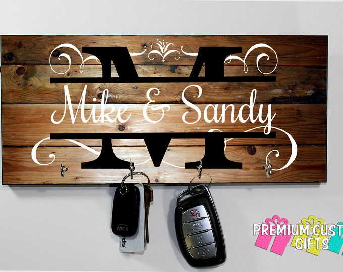 Family Name Gift - Personalize Wedding gift - Personalized MDF Wood Look Wall Key Rack - Housewarming Gift - Anniversary - Design #KH180