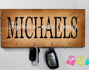 Custom Name Wall Mount Key Holder - Perfect Wedding gift - MDF Wall Key Hanger - Housewarming Gift - Anniversary - Design #KH171