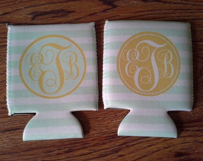 Design Your Own Custom  Wedding Can Cooler - Personalized Order Individually Or As A Set. Bachelorette - Monogrammed - Design# K141