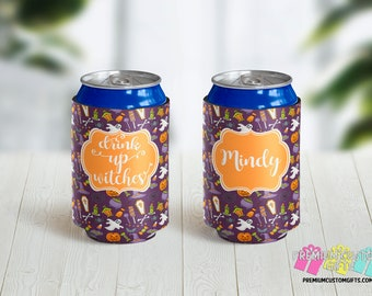 Drink Up Witches Beverage Holders - Halloween Can Coolers - 12 oz Beer Can - 12 oz Can Coolers - Halloween Party Favor  - Personalized