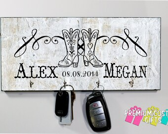 Personalized Cowboy Boot Key Holder - Wedding Gift - Anniversary Gift - Housewarming Gift - Any Occasion Key Hanger Design #KH107