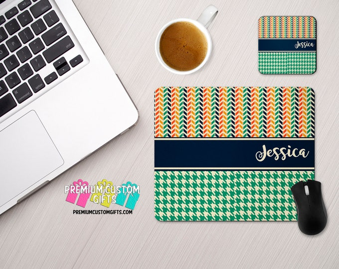 Personalized MousePad and Coaster Set - MultiChevron and Houndstooth Design Desk Set - Monogram Mouse Pad - Teacher Gift - Custom Coaster -