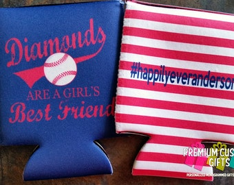 Personalized Bachelorette Can Coolers - Custom Vacation Can Coolers - Baseball Themed Can Coolers - Gifts For Her - Gifts For Him