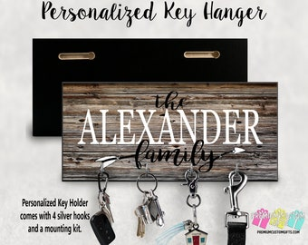 Personalized Key Hanger, Wall Key Rack, Anniversary Gift, Housewarming Gift, Wedding Gift, Key Holders, Personalized Gift, Realtor Gift