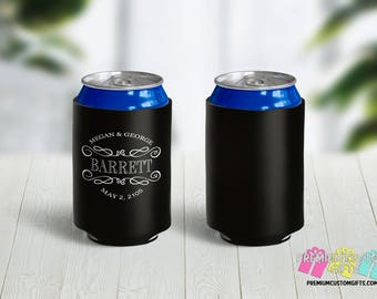 Personalized Wedding Can Coolers - Personalized Can Cooler - Wedding Party Favors - Can Coolies -  Custom Party Favors - Monogram Gift