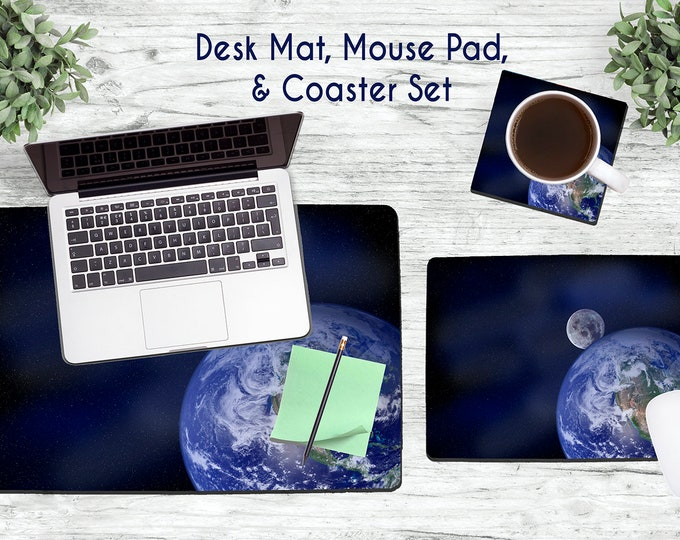 Earth and Moon Desk Set - Desk Accessories - Mouse Pad - Desk Mat - Coaster - Monogram Mouse Pad - Celestial -  Office Desk Set