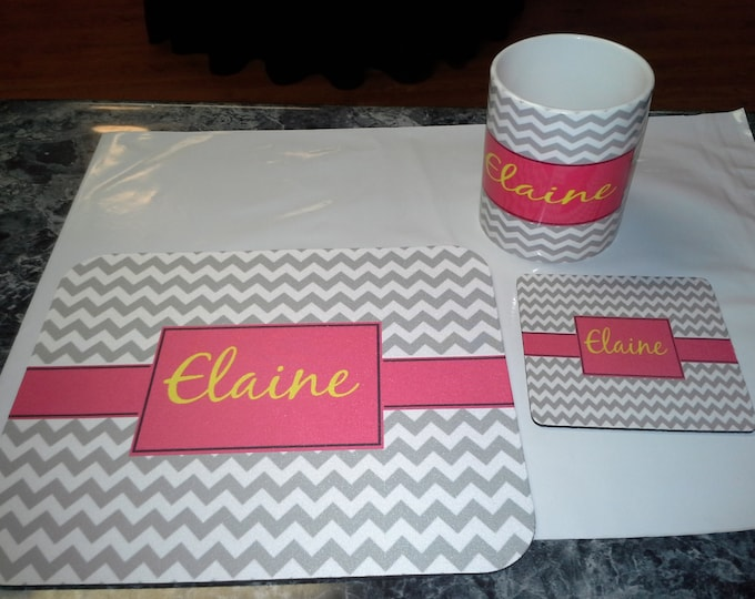 Monogram Gift Set 11 oz Ceramic Mug, Mouse Pad, Rubber back Coaster Personalized With The Name Of Your Choice