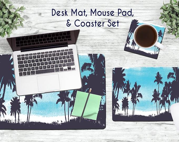 Blue Palm Trees Desk Set - Desk Accessories - Mouse Pad - Desk Mat - Coaster - Monogram Mouse Pad - Custom Mouse Pad -  Office Desk Set
