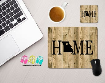 Home With Wood Look Background Custom Mouse Pad and Coaster Set - Personalized Desk Set With Your State and Heart Over Your Town