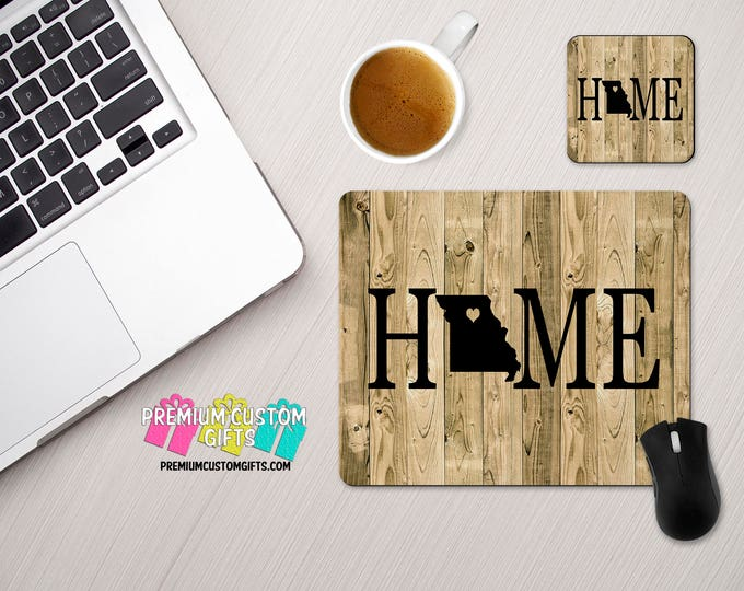 Home With Wood Look Background Custom Mouse Pad and Coaster Set - Personalized Desk Set - Monogram Mouse Pad - Teacher Gift - Custom Coaster