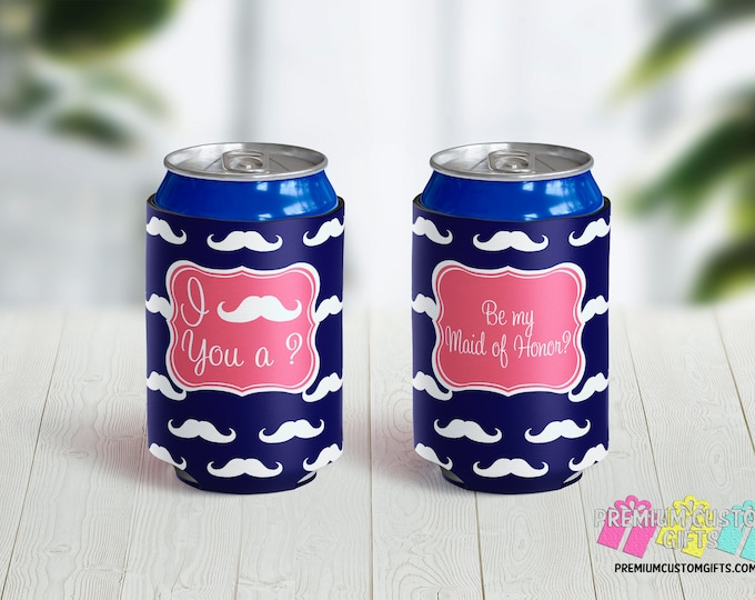 I Mustache You A Question Can Coolers - Personalized Can Coolers - Bachelorette Can Cooler - Custom Coolies - Vacation Can Coolers - Wedding