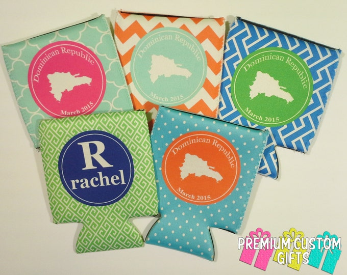 Set of 5 Personalized Can Coolers - Vacation Can Cooler - Bachelorette Party - Custom Can Coolers - Destination Can Coolies - Monogram Gifts