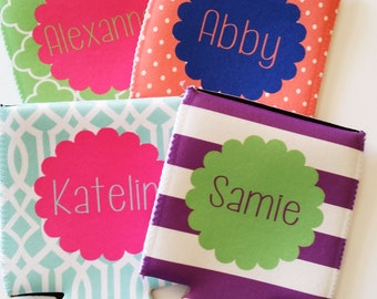 Personalized Can Coolers - Set of 4 Can Coolers  - Monogrammed Can Coolers - Vacation Can Coolers - Bachelorette Can Coolers - Party Favors
