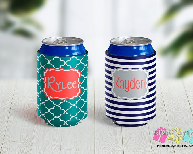 Personalized Can Coolers - Monogrammed Can Coolers - Can Coolies - Vacation Can Coolers - Beach Trip Can Coolers - Birthday Party Favors