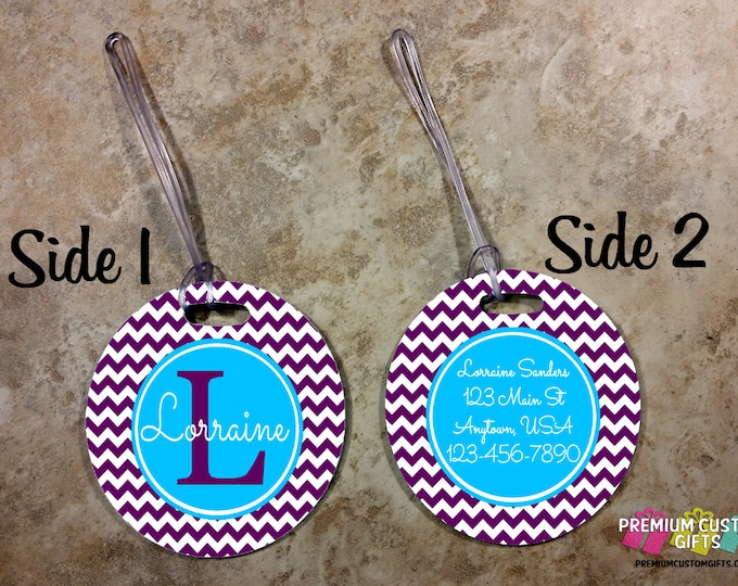 Chevron Personalized Luggage Tag - Custom Travel Luggage Tag - Bag Tags - Monogram Bag Custom Tag - Personalized Tag - Design #BT127
