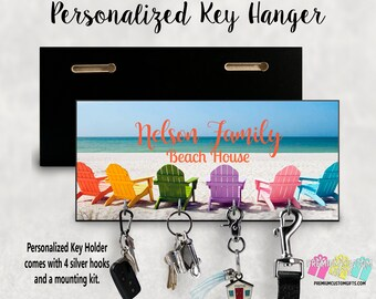 Beach House Key Hanger - Custom Key Holder For Wall - Personalized Key Hanger - Made Of MDF Key Hanger - Housewarming Gift - Vacation Home
