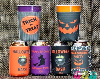 Halloween Coolers - Trick or Treat Can Coolers - Halloween Party - Personalized Halloween - Costume Party - Beer Coolers - Design #K123