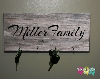 Family Name Wedding Gift - Anniversary Gift - Housewarming Gift - Any Occasion Key Hanger - Coach Gift Design#KH109