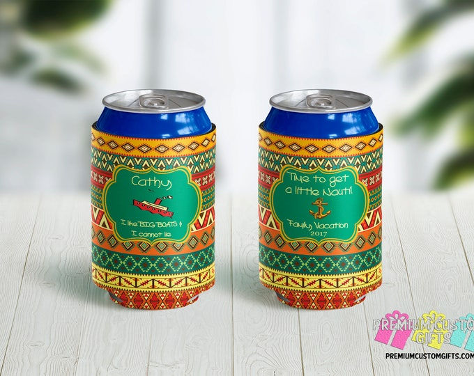 Time To Get Nauti Can Coolers - Bachelorette Party Can Coolers - Personalized Can Coolies - Monogrammed Beer Can Coolers - Custom Can Cooler