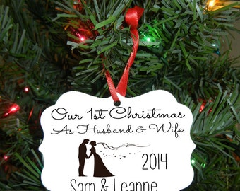Our First Christmas Ornament - Wedding Gift - Christmas Gift - Engagement Gift - Double Sided Design #OR100