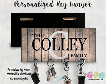 Personalized Key Holder- Wedding Gift - Anniversary Gift - Key Hanger - Housewarming Gift - Personalized Gift - Wall Key Rack - Key Rack