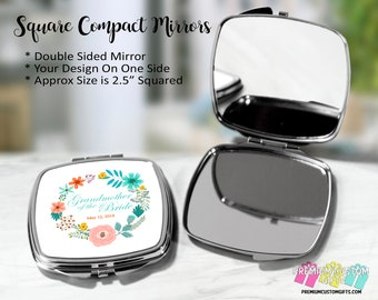 Personalized Grandmother of the Bride Compact Mirror - Bridal Party Gifts - Wedding Party Gifts - Custom Pocket Mirror - Double Mirror