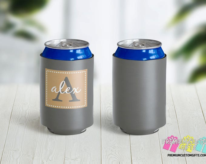 Monogrammed Wedding Can Coolers - Personalized Can Cooler - Wedding Party Favors - Can Coolies -  Custom Party Favors - Monogram Gift