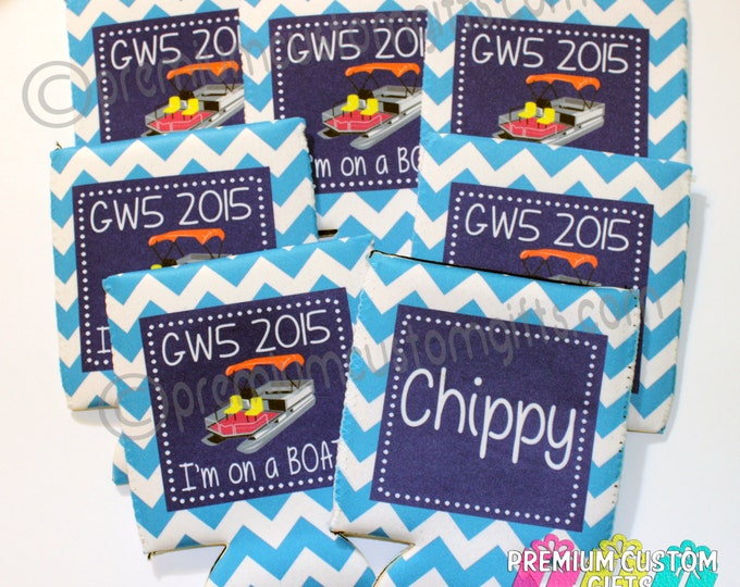 Set of 7 Camping Coolers - Personalized Coolers - Custom Coolers - Can Coolers