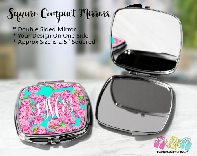 Monogrammed Lilly Pulitzer Inspired Design Compact Mirror - Bachelorette Gift - Wedding Party Gift - Coach Gift - Teacher Gift - Graduation