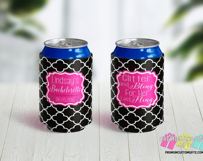 Glitter and Bling Bachelorette Party Custom Can Coolers - Vacation Can Coolers - Custom Can Coolers - Destination Can Coolies - Beer Can