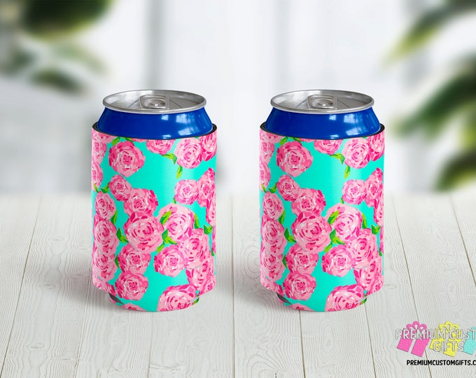 Lilly Pulitzer Inspired Can Coolers - Personalized Can Coolies - Custom Can Coolers - Bachelorette Coolies - Vacation - Wedding Beverage