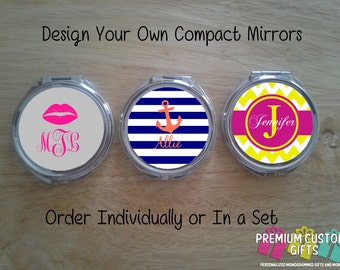 Personalized Monogrammed Compact Mirror. Cheer Coach, Cheerleader, Bachelorette, Wedding, Graduate, MothersDay Individual Or Set Design#C104