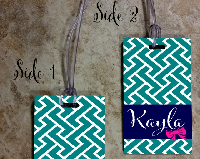 Custom Rectangle Monogrammed Luggage Tag - Custom Travel Luggage Tag - Bag Tags - Monogram Bag Tag - Rectangle Tag - Design #RBT100