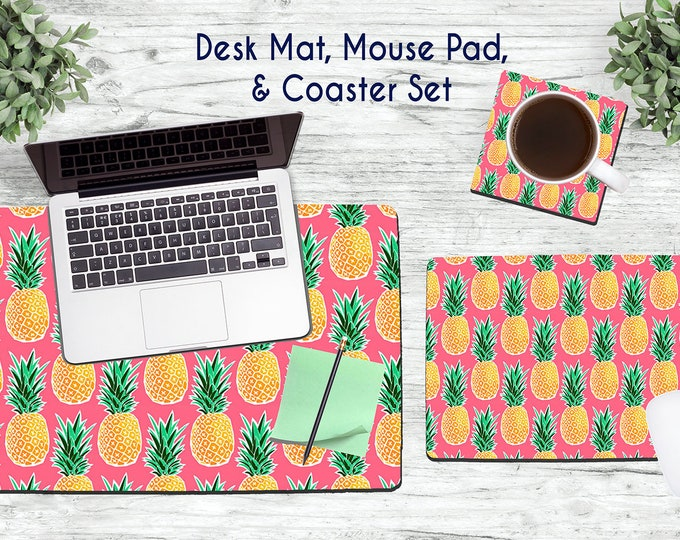 Pineapples Desk Set - Desk Accessories - Mouse Pad - Desk Mat - Coaster - Monogram Mouse Pad - Pineapple Mouse Pad -  Office Desk Set