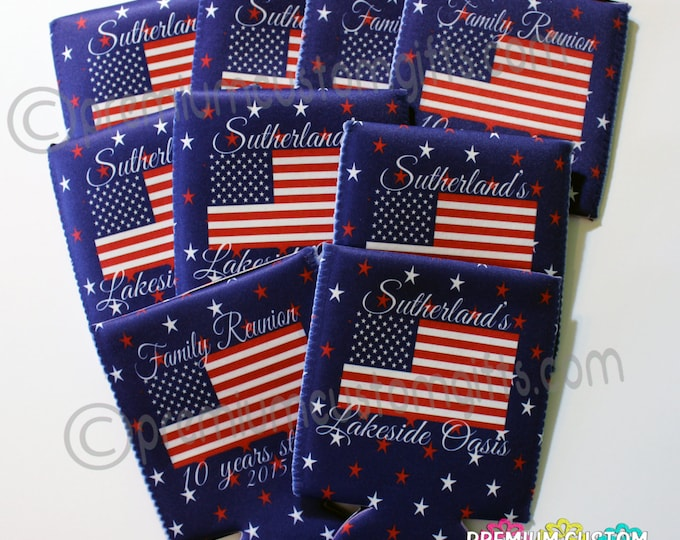 Set of 9 Personalized Coolers - Custom Cooler - Family Reunion Coolers - Design Your Way - Patriotic Coolers - Vacation Can Coolers