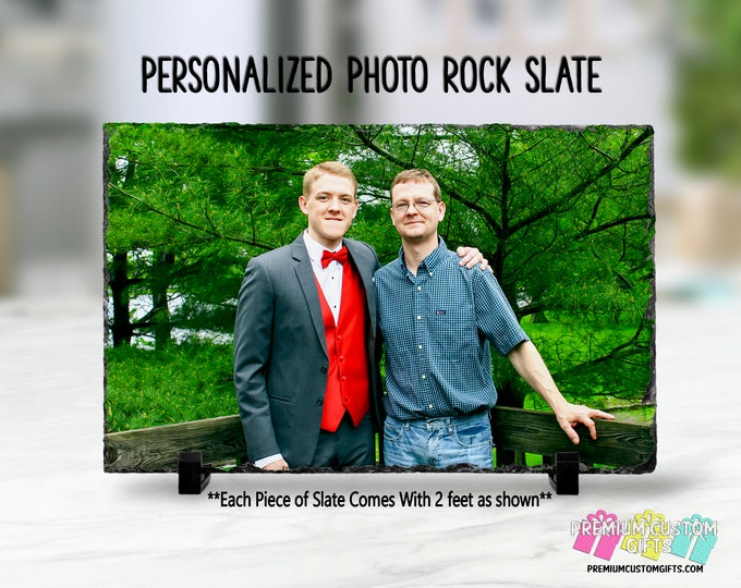 Personalized Slate Rock - Wedding Gift - Graduation Gift - Prom Gift - Real Slate Piece Image Dyed in the Surface - Photo Touch Up Available