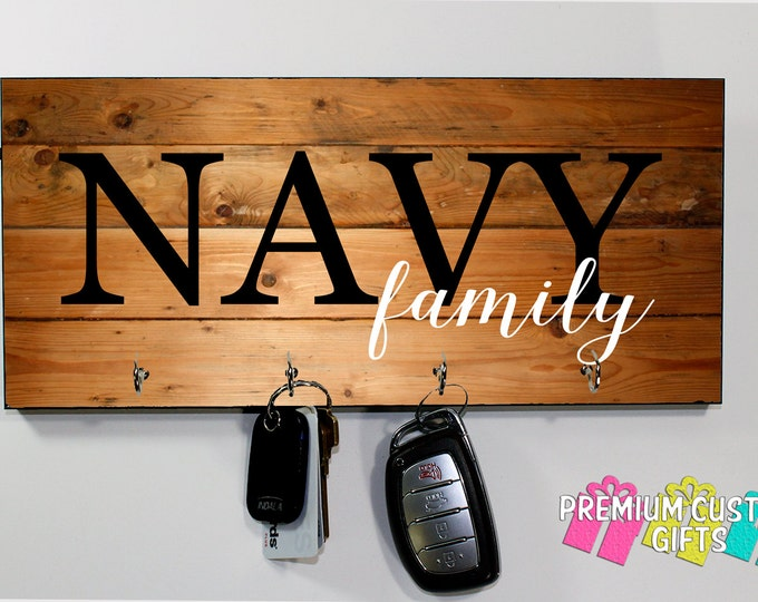Navy Family Personalized Wooden Key Hanger - Military Key Hanger - MDF Wooden Wall Key Rack - Choose Your Wood Look Background Design #KH206