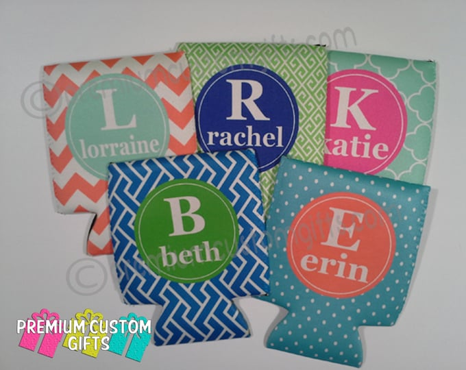 Personalized Can Coolers Set of 5 - Bachelorette Can Coolers - Mixed Styles Can Coolers - Custom Can Coolers - Can Coolers - Any Occasion