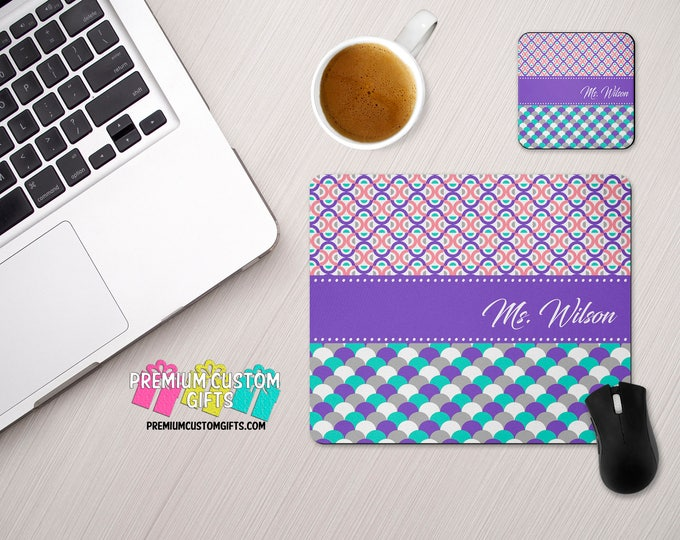 Monogrammed Mouse Pad and Coaster Set With Your Name - Mouse Pad and Coaster Makes A Great Gift For Any Home Or Office Desk