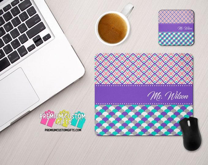 Monogrammed Mouse Pad and Coaster Set - Personalized Desk Set - Personalized Mouse Pad - Custom Mouse Pad - Custom Coaster - Teacher Gift