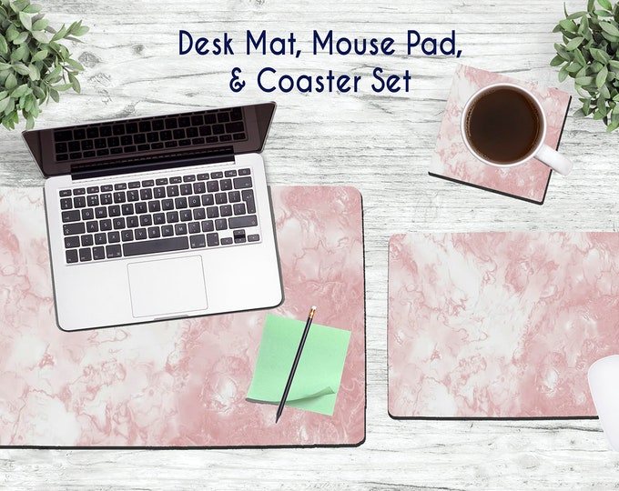 Rose Gold Marble Desk Set - Desk Accessories - Mouse Pad - Desk Mat - Coaster - Monogram Mouse Pad - Rose Gold Mouse Pad -  Office Desk Set