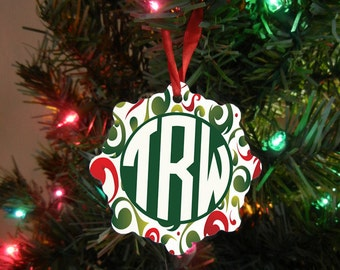 Monogrammed Initials Snowflake Ornament - Custom Ornament - Custom Monogram Gift - Christmas Gift Design #OR120