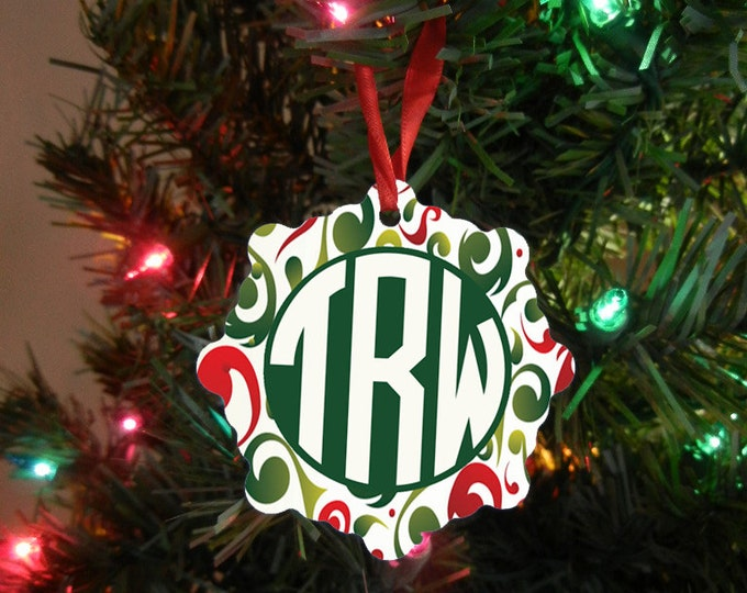 Monogrammed Initials Snowflake Ornament - Custom Ornament - Custom Monogram Gift - Christmas Gift Design #OR120