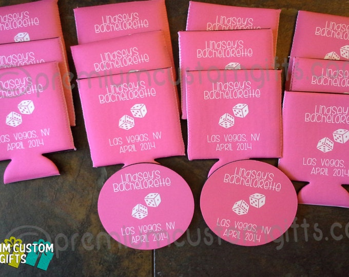 12 Personalized Bachelorette Can Coolers - Any Design And Quantity Available - Add On Matching Coasters - Email For More Details