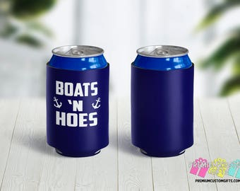 Boats 'N Hoes Can Coolers - Bachelorette Party Can Coolers - Personalized Can Coolies - Monogrammed Beer Can Coolers - Bachelor Can Cooler